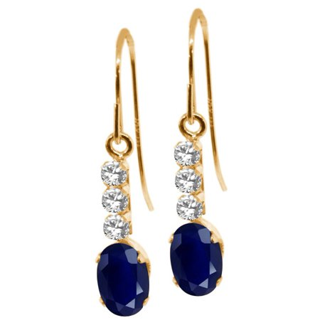 - 1.23 Ct Oval Blue Sapphire White Sapphire 10K Yellow Gold Earrings