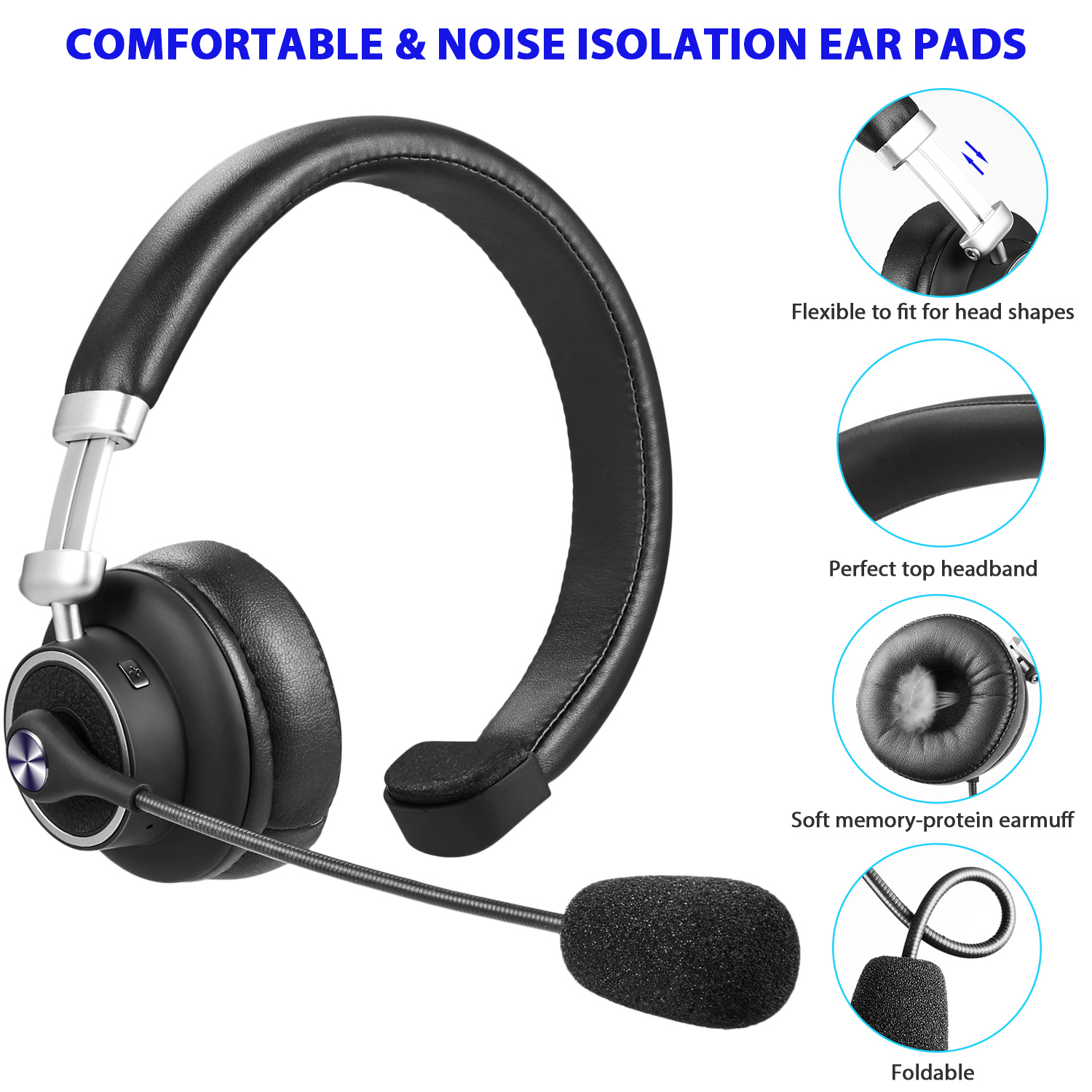Luxmo Trucker Bluetooth Headset Wireless Headphones With Microphone Noise Cancelling Headphones For Truck Driver Wireless Over The Head Earpiece With Mic For Skype Call Centers Walmart Com Walmart Com