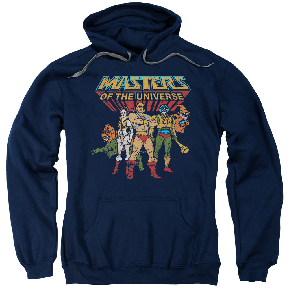 MASTERS OF THE UNIVERSE/TEAM OF HEROES-ADULT PULL-OVER HOODIE-NAVY-LG