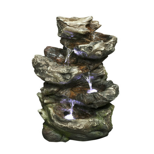 Hi-Line Gift Ltd. Fiber and Resin 4 Level Log Waterfall with LED lights Fountain