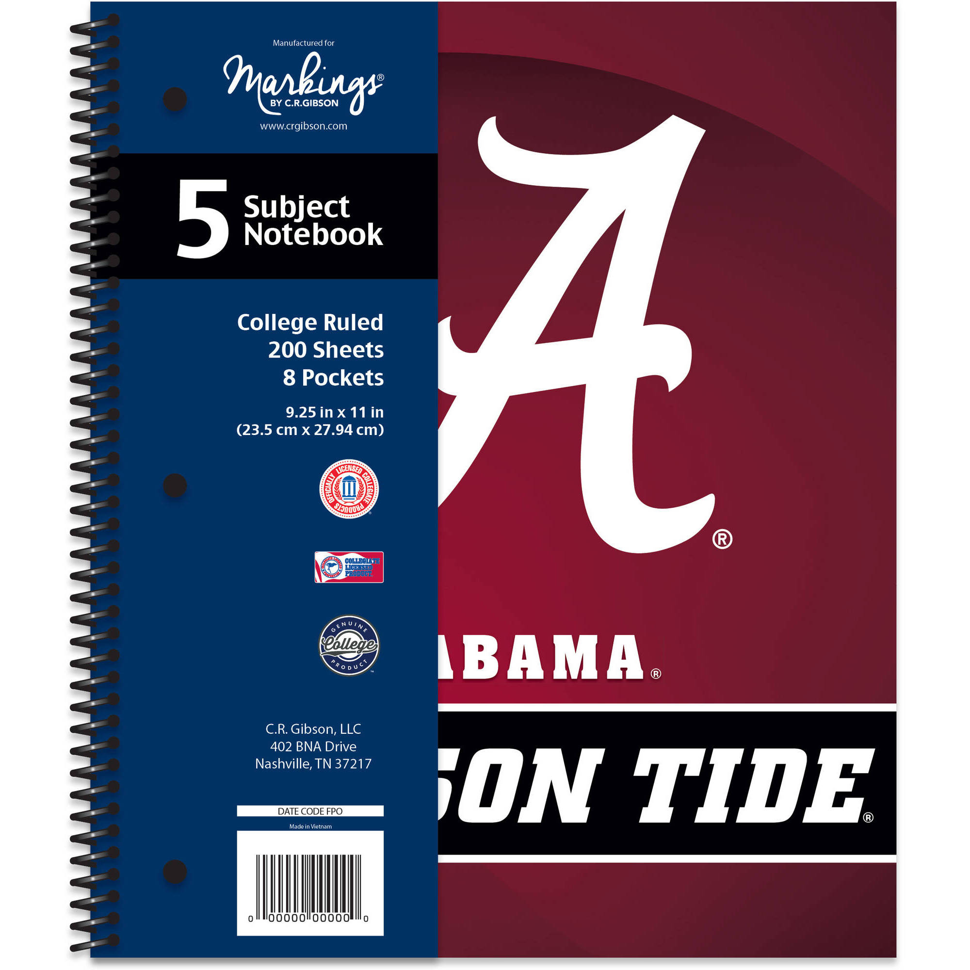 NCAA 5-Subject Notebook
