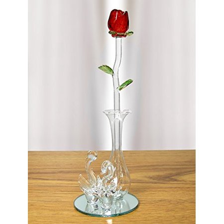 Crystal Modern Vase - Crystal Red Rose in Glass Vase - Decorative Swan Vase with Mirrored Vase