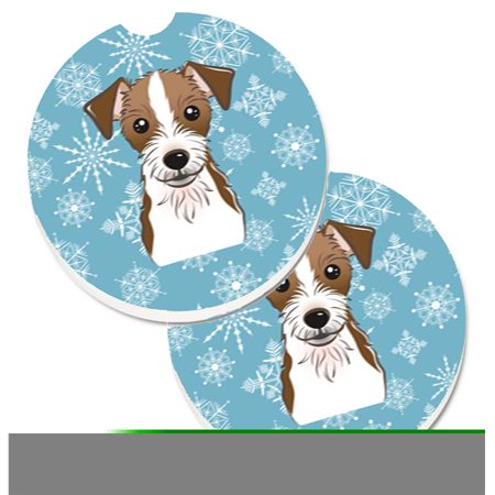 Jack Russell Terrier Coaster - Snowflake Jack Russell Terrier Set of 2 Cup Holder Car Coaster