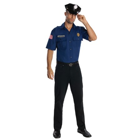 Police Officer Blue Shirt and Hat Cop Adult Unisex Costume R880769 - Standard Large](Adult Police Officer Costume)