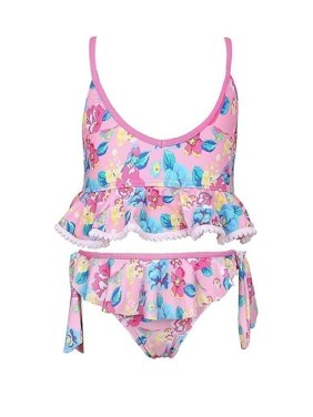 Sun Emporium Girls Pink Blue Vintage Blossom Frill Bikini Swimsuit 8