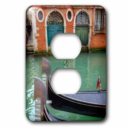 3dRose Gondolas along the Grand Canal, Venice, Italy - 2 Plug Outlet Cover (Italian Gondola Driver)