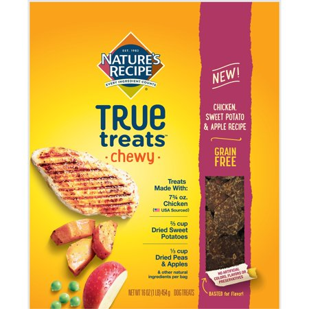 Cheeky Dog - Nature's Recipe True Treats with Chicken, Sweet Potato, and Apple, Grain-Free, Natural, Chewy Dog Treats, 16 Oz.