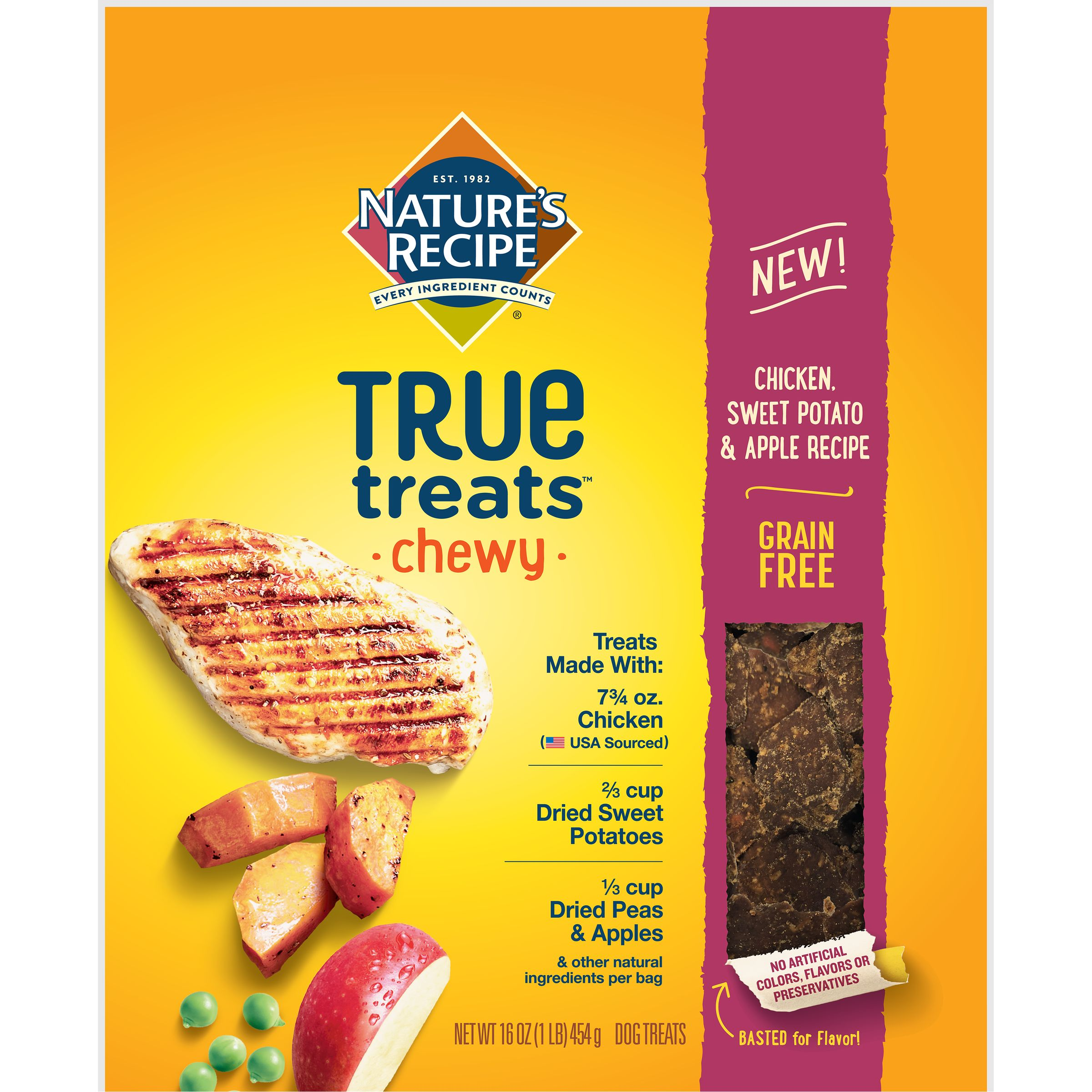 Nature's Recipe True Treats with Chicken, Sweet Potato, and Apple, Grain-Free, Natural, Chewy Dog Treats, 16 Ounce Bag