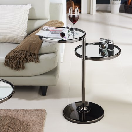 Furniture of America  Cara Contemporary Round 2-shelf Motion Glass Metal End - Contemporary Metal Furniture