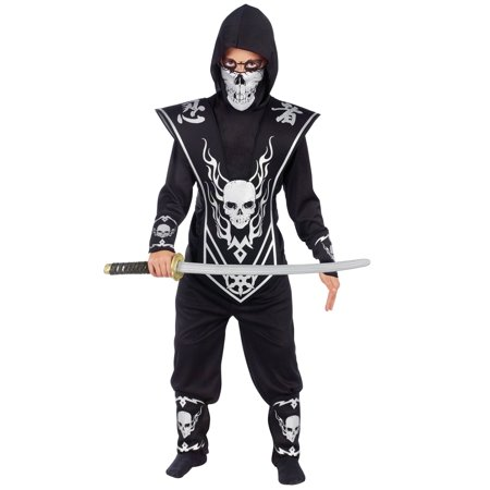 Sugar Skull Halloween Costume Male (Red & Black Skull Ninja Child Halloween)