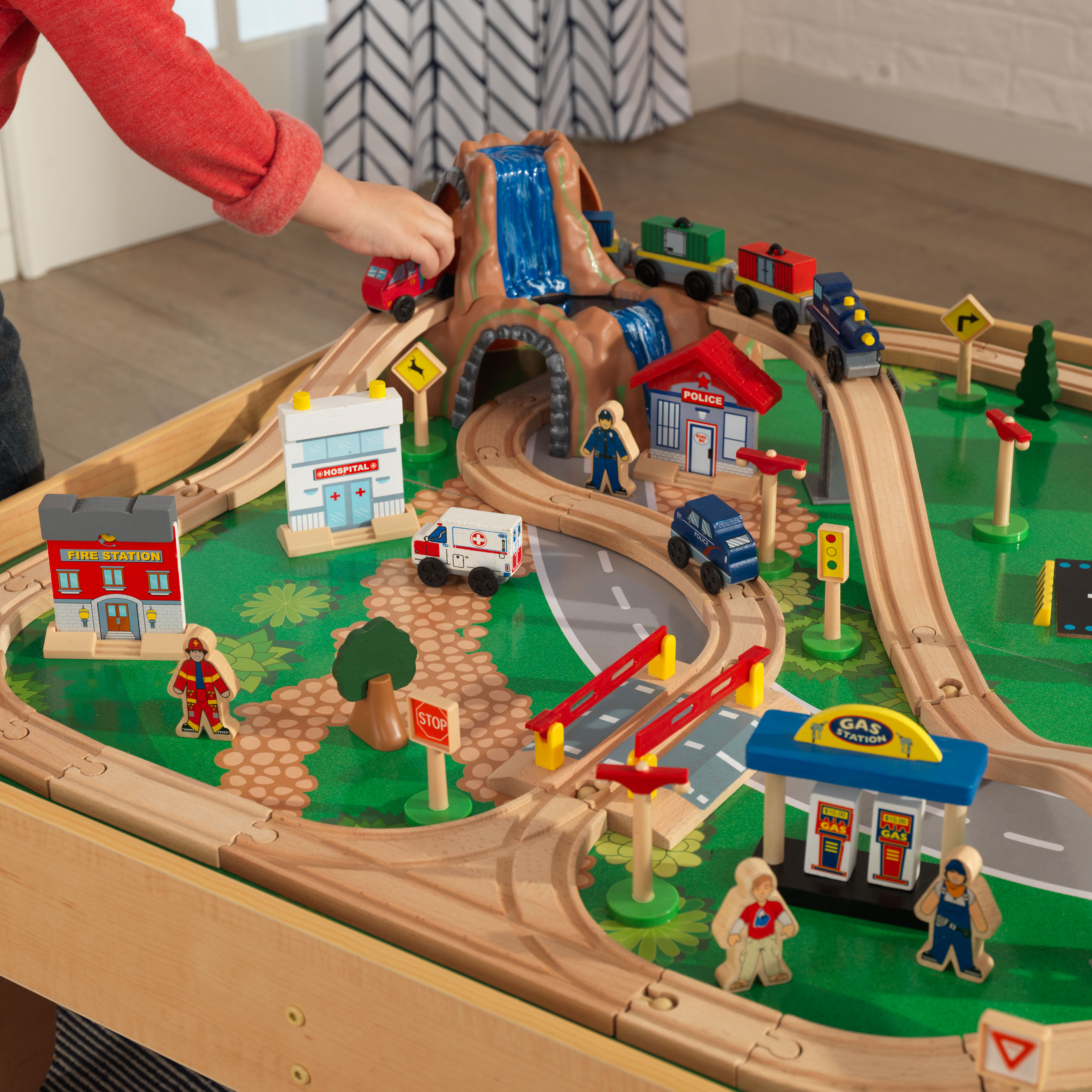 KidKraft Waterfall Mountain Train Set U0026 Table With 120 Accessories Included  Image 9 Of 11
