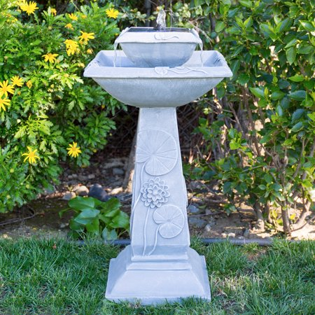 Best Choice Products 2-Tier Outdoor Pedestal Solar Bird Bath Fountain Decoration with LED Lights, Integrated Panel, and Engraved Flower Accents, Gray