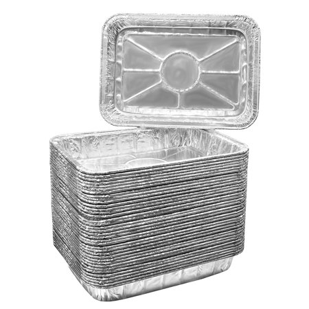 Pack of 25 Aluminum Foil Grill Drip Pans - Bulk Package of Durable Cooking Trays - Disposable BBQ Grease Pans - Made in USA - Great for Baking, Roasting, and Cooking - Standard Size 8.5
