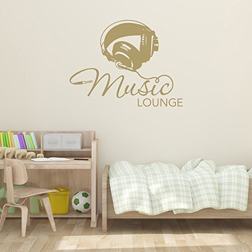 Music Lounge Wall Decal - Music Wall Sticker, Musical Vinyl Wall Art, Home Decor, Melody Wall Mural Quotes And Sayings - 4611 - White, 16in x 12in