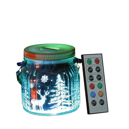 Indoor Reindeer (Candle Choice Living Jar, Indoor Outdoor Battery-operated Jar Light with Remote and Timer, Reindeers and Christmas Trees)