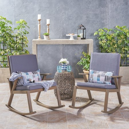 Marvelous Outdoor Acacia Wood Rocking Chair Cushion Grey Home Interior And Landscaping Palasignezvosmurscom