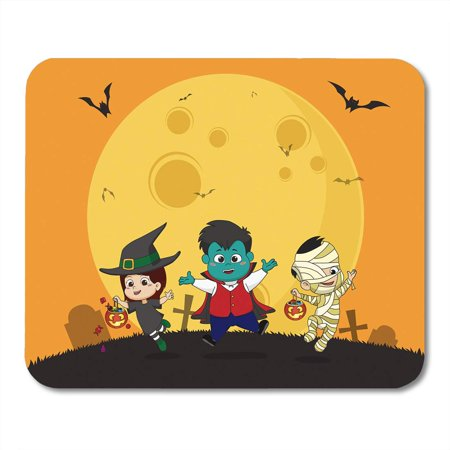 LADDKE Cartoon Happy Halloween Kid Dress Up Party and Jumping in The Air Children Mousepad Mouse Pad Mouse Mat 9x10 inch](Halloween Party Cartoon)