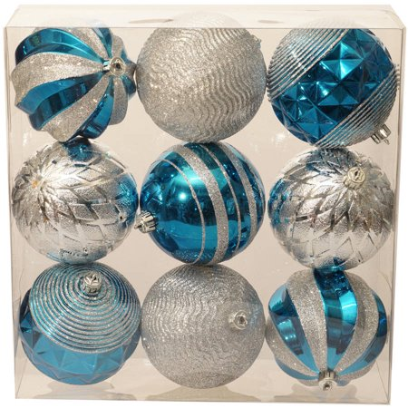 holiday time christmas ornaments traditional 100mm shatterproof set of 9 teal gem silver - Teal And Silver Christmas Decorations