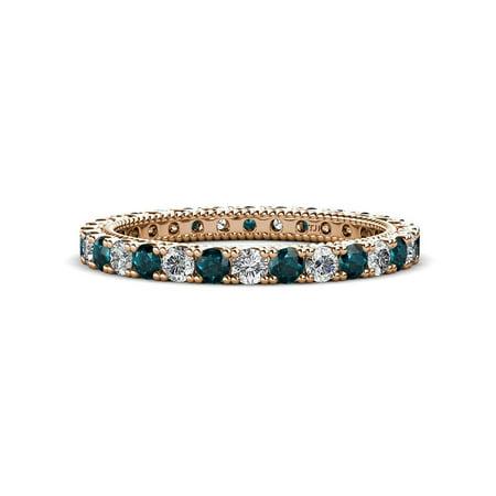 Diamond & London Blue Topaz 1.30-1.50 carat tw Women Stackable Eternity Band in 14K Rose Gold.size 5.0 Blue Diamond Channel Band