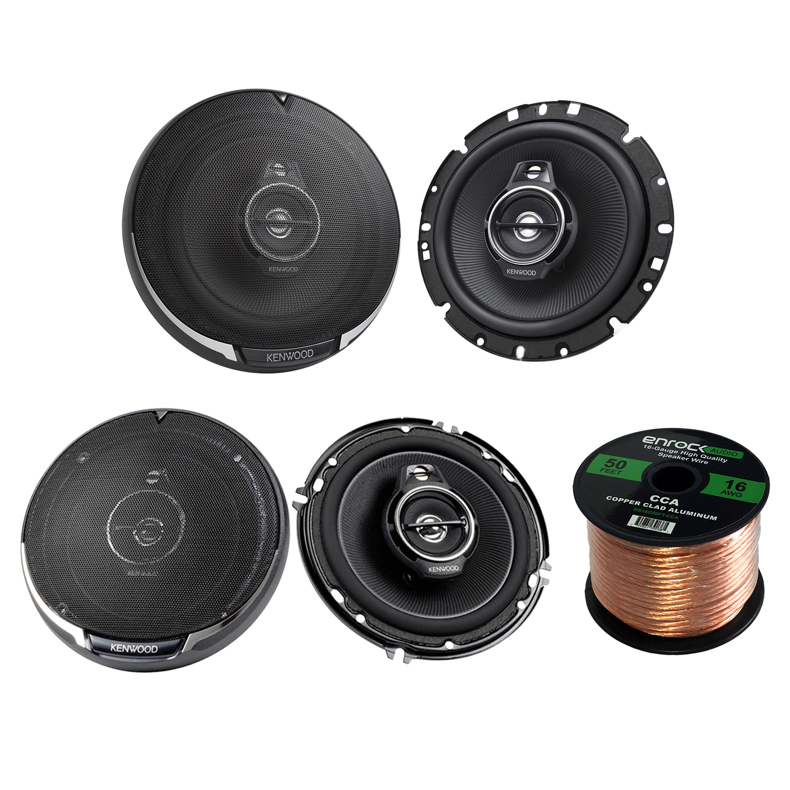 "Kenwood KFC-1795PS 660W 6-3/4"" 3-Way Black Car Speakers, Kenwood KFC-1695PS 6-1/2"" 3-way 320W Car Speakers, Enrock Audio 16-Gauge 50 Foot Speaker Wire"