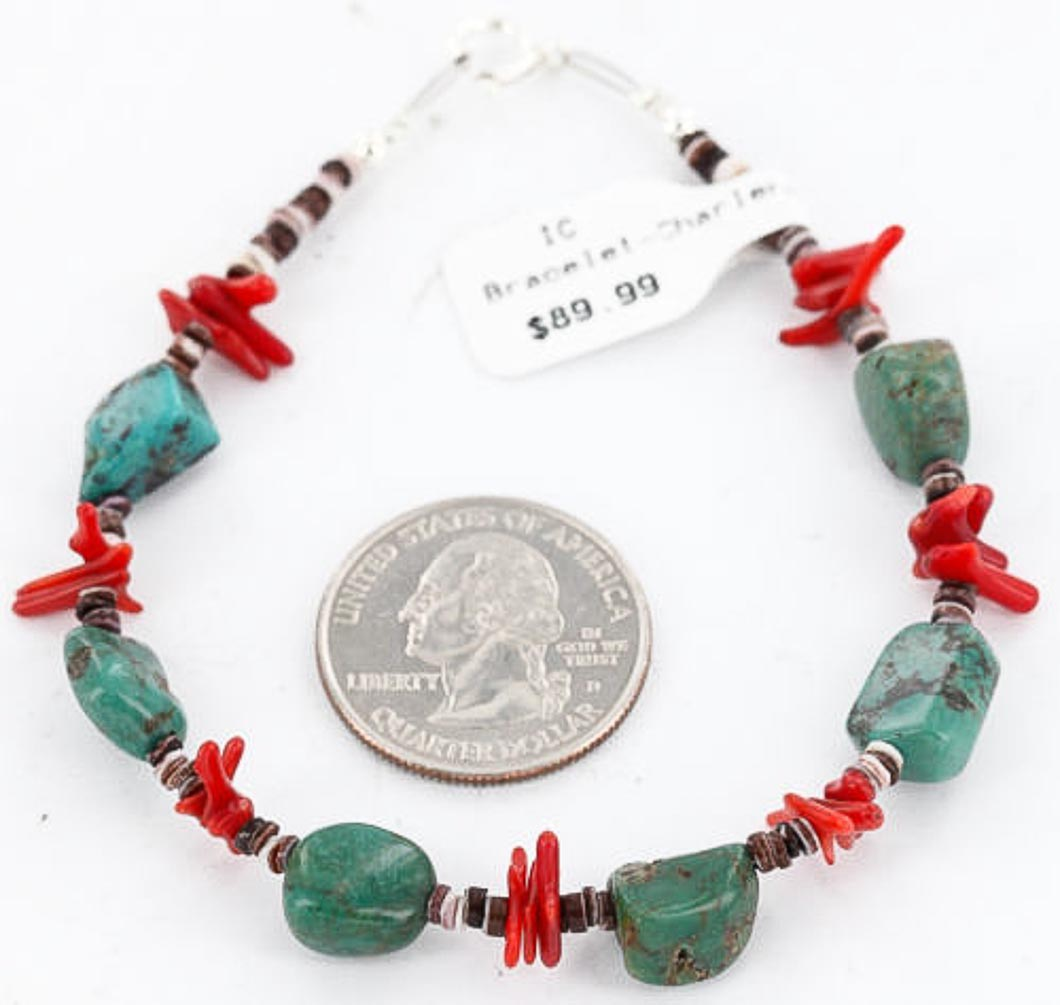90 Retail Tag Authentic Made by Charlene Little Navajo .925 Sterling Silver Turquoise and Coral Native American Bracelet by