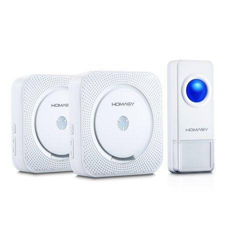 Homasy Wireless Doorbell Kit,  1 Push Button and 2 Remote Receivers