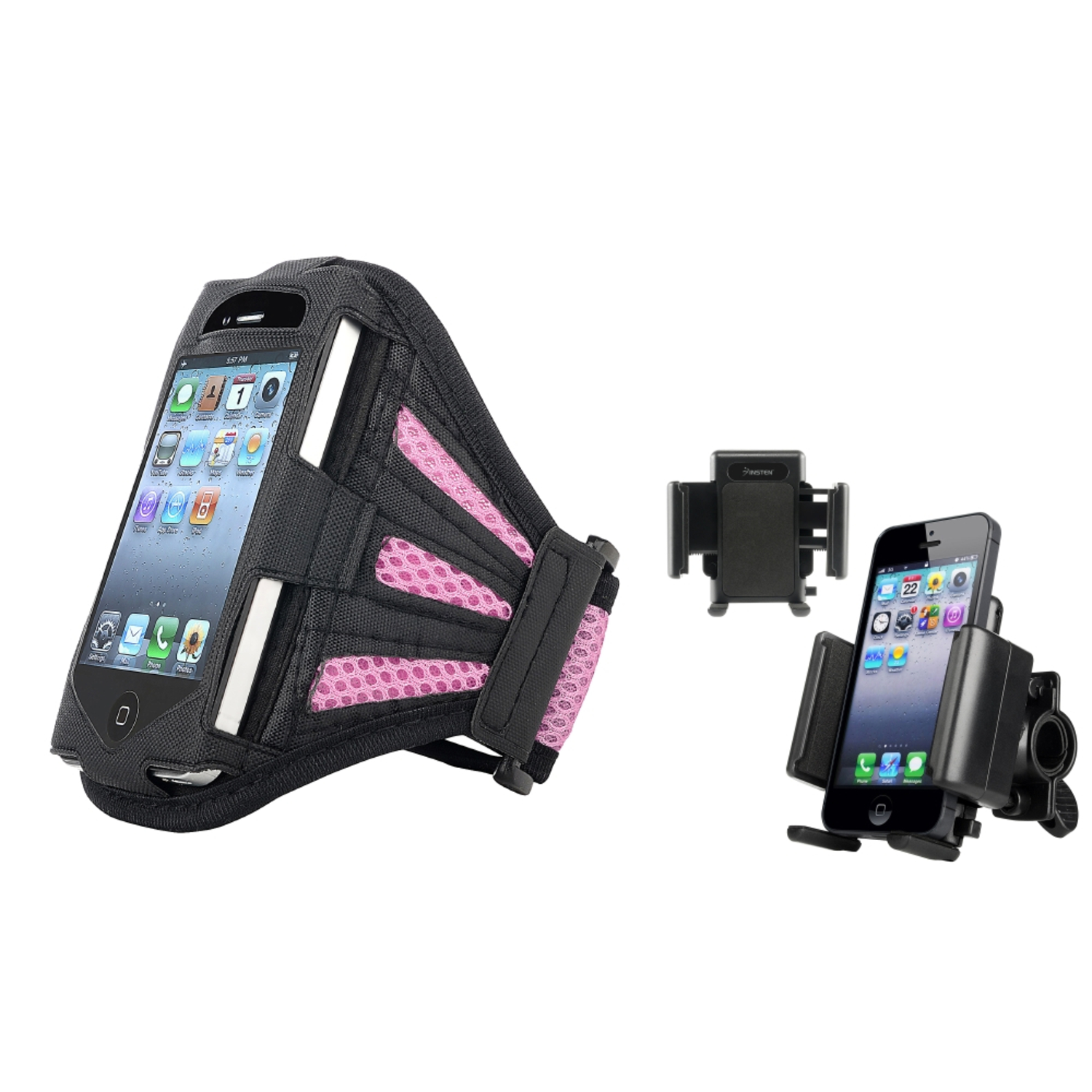 Insten Sport Combo Bicycle Holder+GYM ARM BAND CASE COVER PINK For Apple iPhone 3G S 3GS
