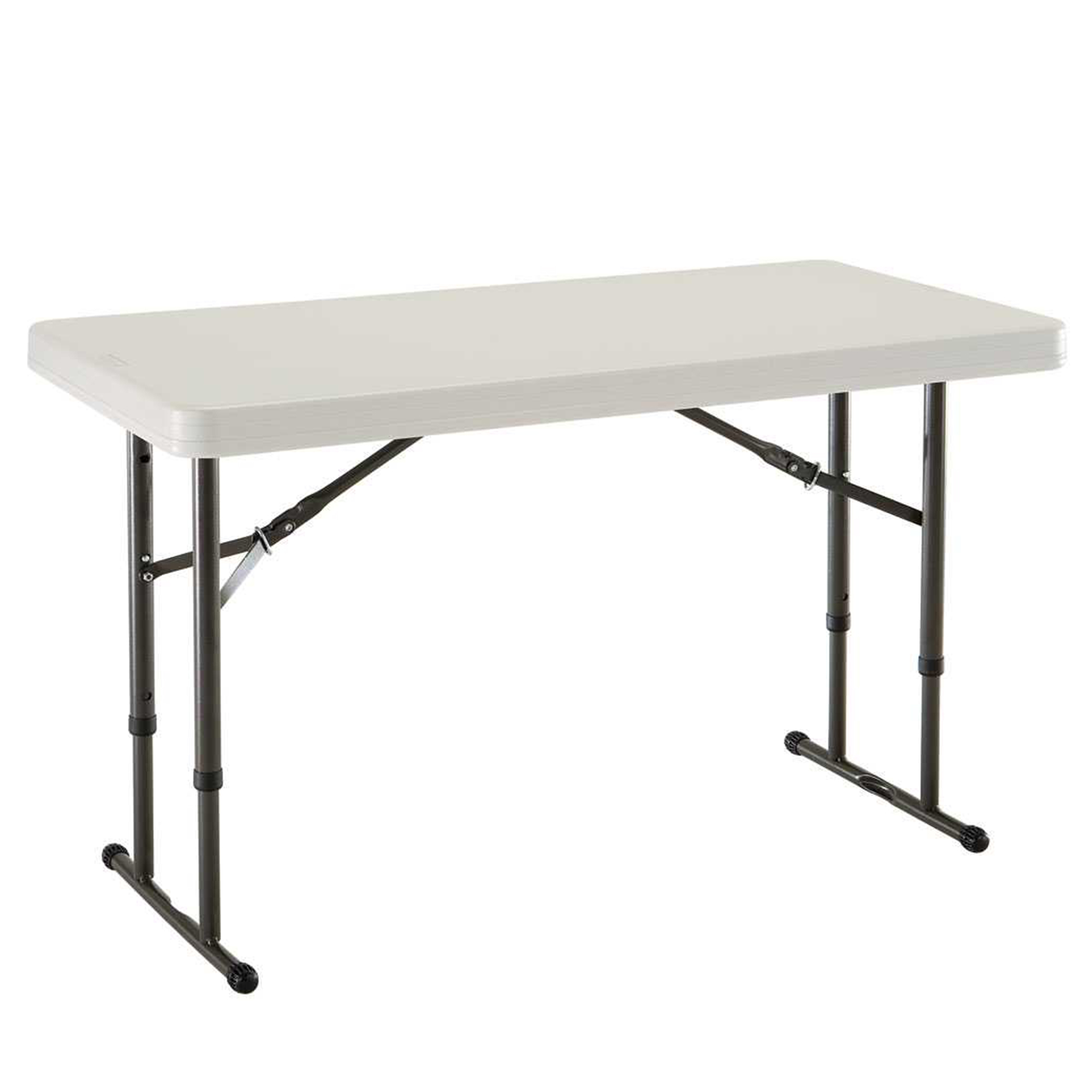 Lifetime 4' Adjustable Folding Table, Almond, 80161 by Lifetime Products