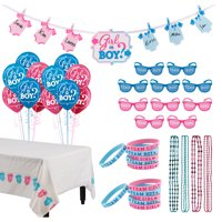 Girl or Boy Gender Reveal Party Activity Kit and Supplies, Includes Balloons