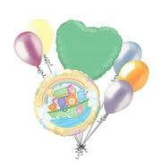 7 pc Soft Pastel Baby Noah's Animal Ark Balloon Bouquet Decoration Home Shower