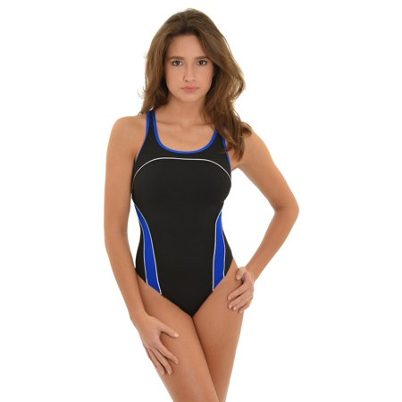 Speedo Womens Athletic Swimwear Black One Piece Swimsuit Blue White