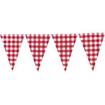 Large Red Gingham Pennant Banner - Party Decorations & Banners - Pink Gingham Party Supplies