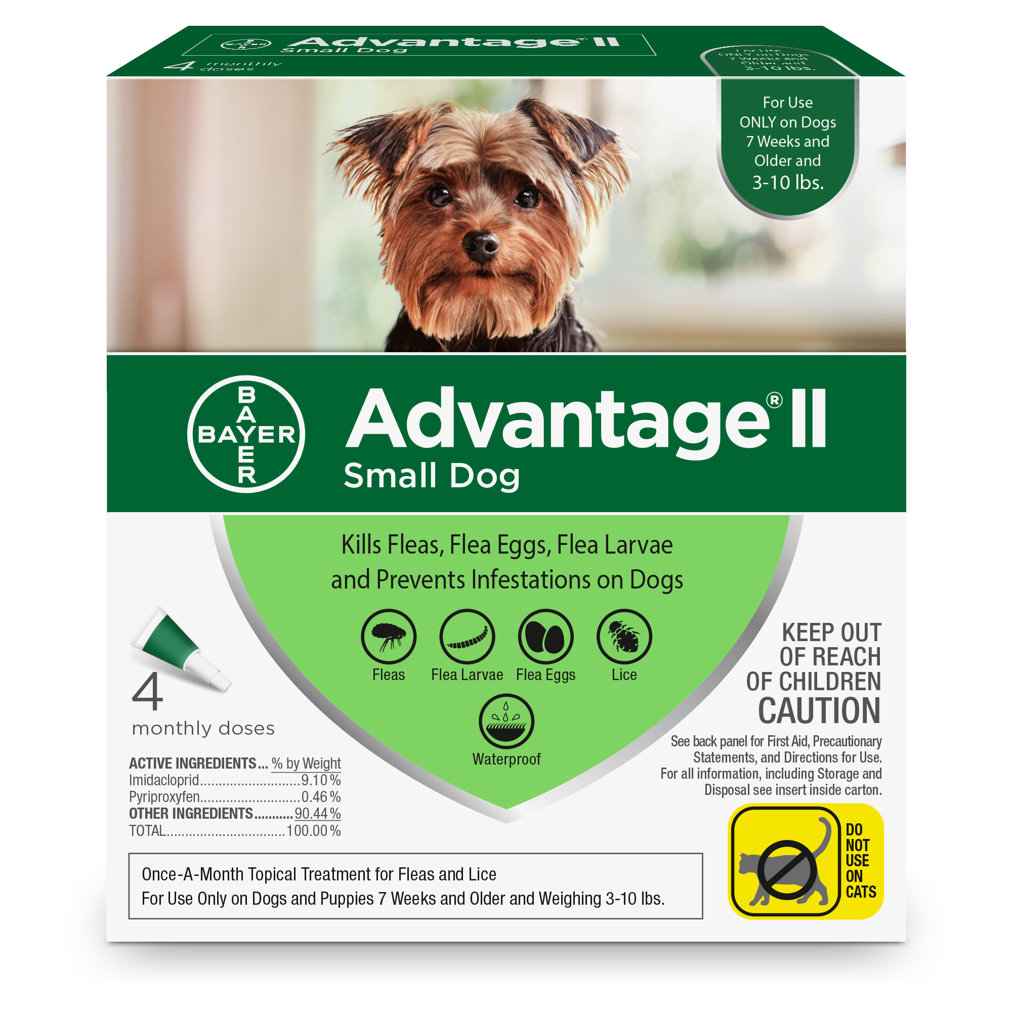Advantage II Flea Treatment for Small Dogs, 4 Monthly Treatments by Bayer