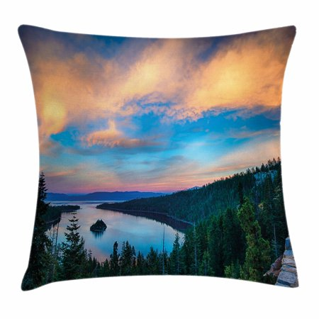 Lake Tahoe Throw Pillow Cushion Cover, High Angle View of Californian Freshwater Lake Tranquil Scene Sundown, Decorative Square Accent Pillow Case, 18 X 18 Inches, Forest Green Sky Blue, by Ambesonne ()