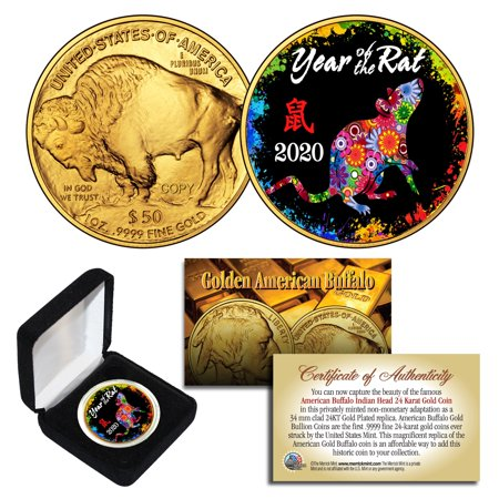 2020 Lunar New YEAR OF THE RAT 24K Gold Clad Buffalo Tribute Coin PolyChrome BOX Raft Dry Box