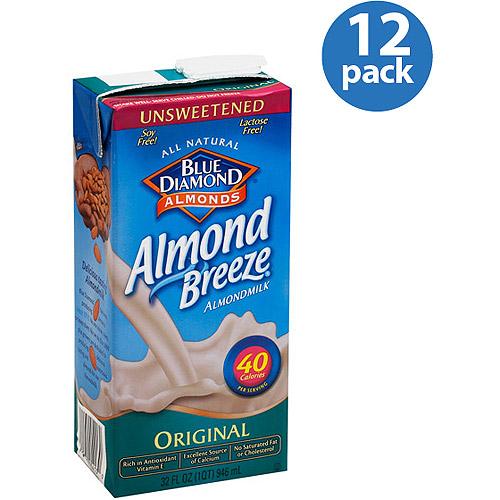Blue Diamond Almond Breeze Original Unsweetened Almondmilk, 32 fl oz, (Pack of 12)