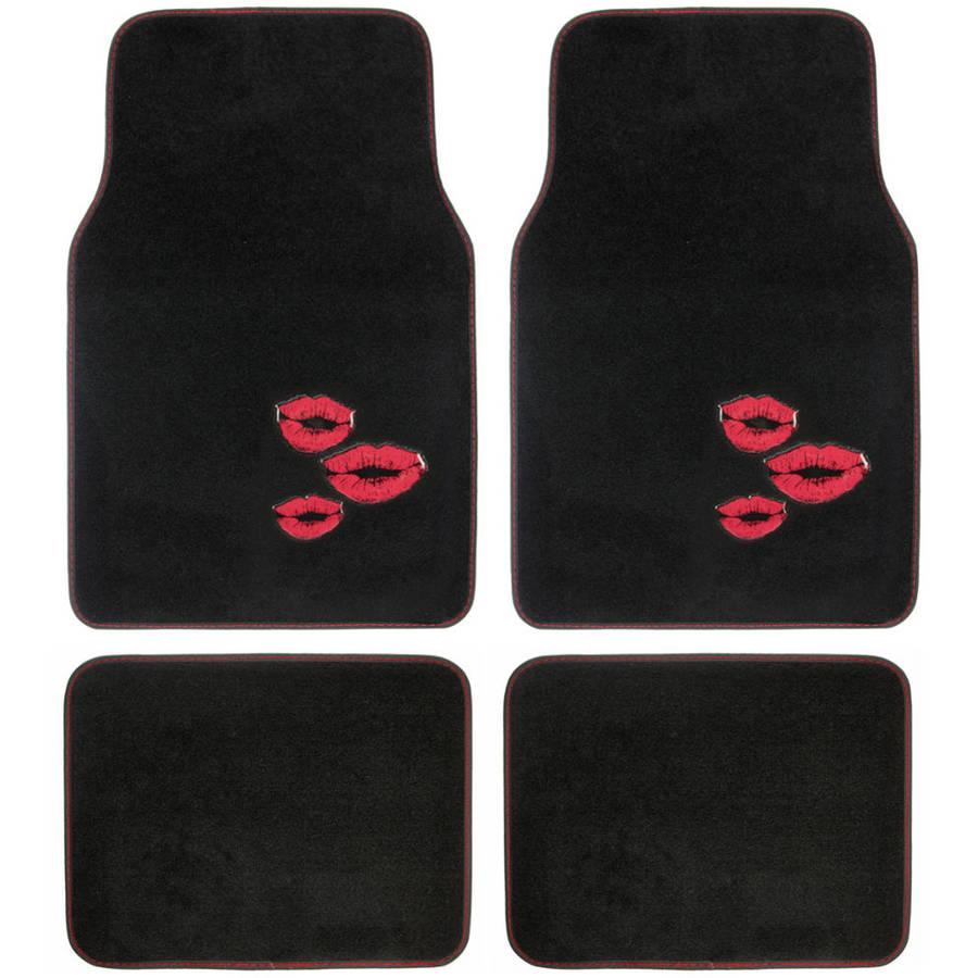 BDK Red Lips Design Carpet Floor Mats for Car SUV, 4 Piece Set