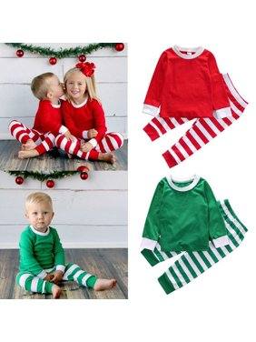 Toddler Kids Little Boys Girls Long Sleeve Top and Stripe Pants Christmas Pajamas Sets