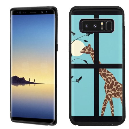 Giraffe Folded Note - Slim-Fit case for Samsung Galaxy Note 8, OneToughShield ® TPU Gel Protector Phone Case (Black Bezel) - Moon Giraffe