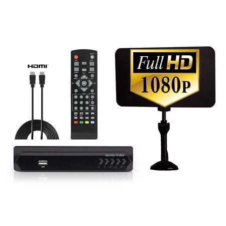 Digital Converter Box   Flat Antenna   Hdmi Cable For Recording   Watching Full Hd Digital Channels For Free  Instant   Scheduled Recording  Dvr  1080P  Hdmi Output  7 Day Program Guide   Lcd Screen