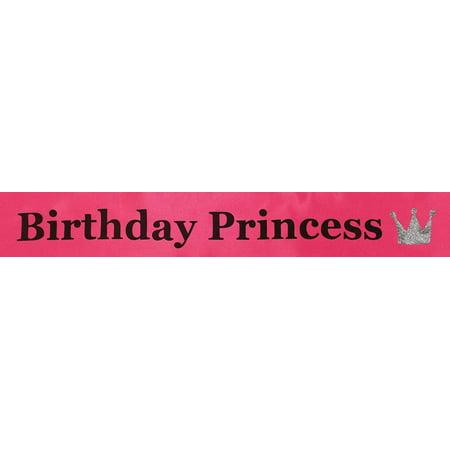 Birthday Princess Sash Hot Pink One Size