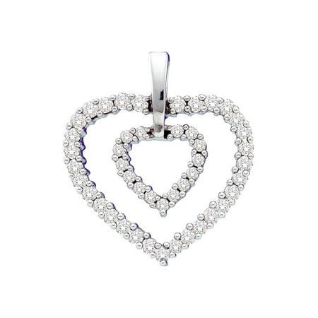 14kt White Gold Womens Round Diamond Double Frame Heart Pendant 1/2 Cttw - image 1 de 1