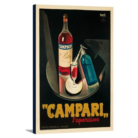 12x18 80 Lb Text (Campari - l'aperitivo (small 1 - sheet Italian text) Vintage Poster (artist: Nizzoli) Italy c. 1926 (12x18 Gallery Wrapped Stretched)