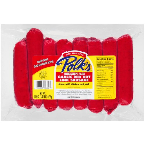 Polk's Mississippi Garlic Red Hot Link Sausage, 24 oz