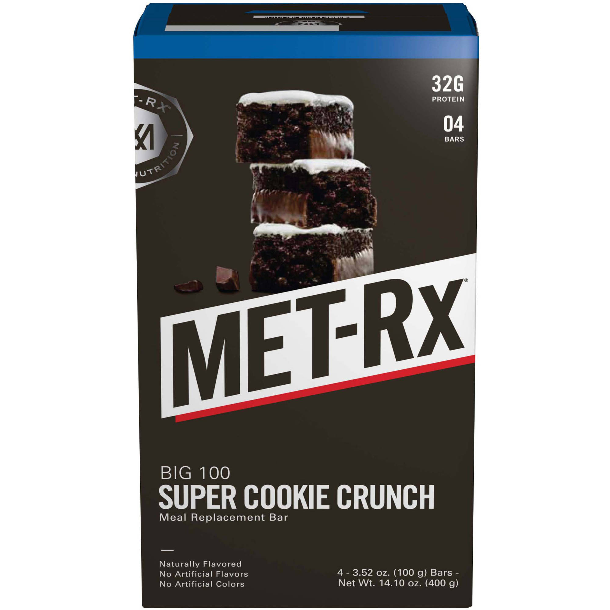MET-Rx Big 100 Protein Bar, Super Cookie Crunch, 32g Protein, 4 Ct