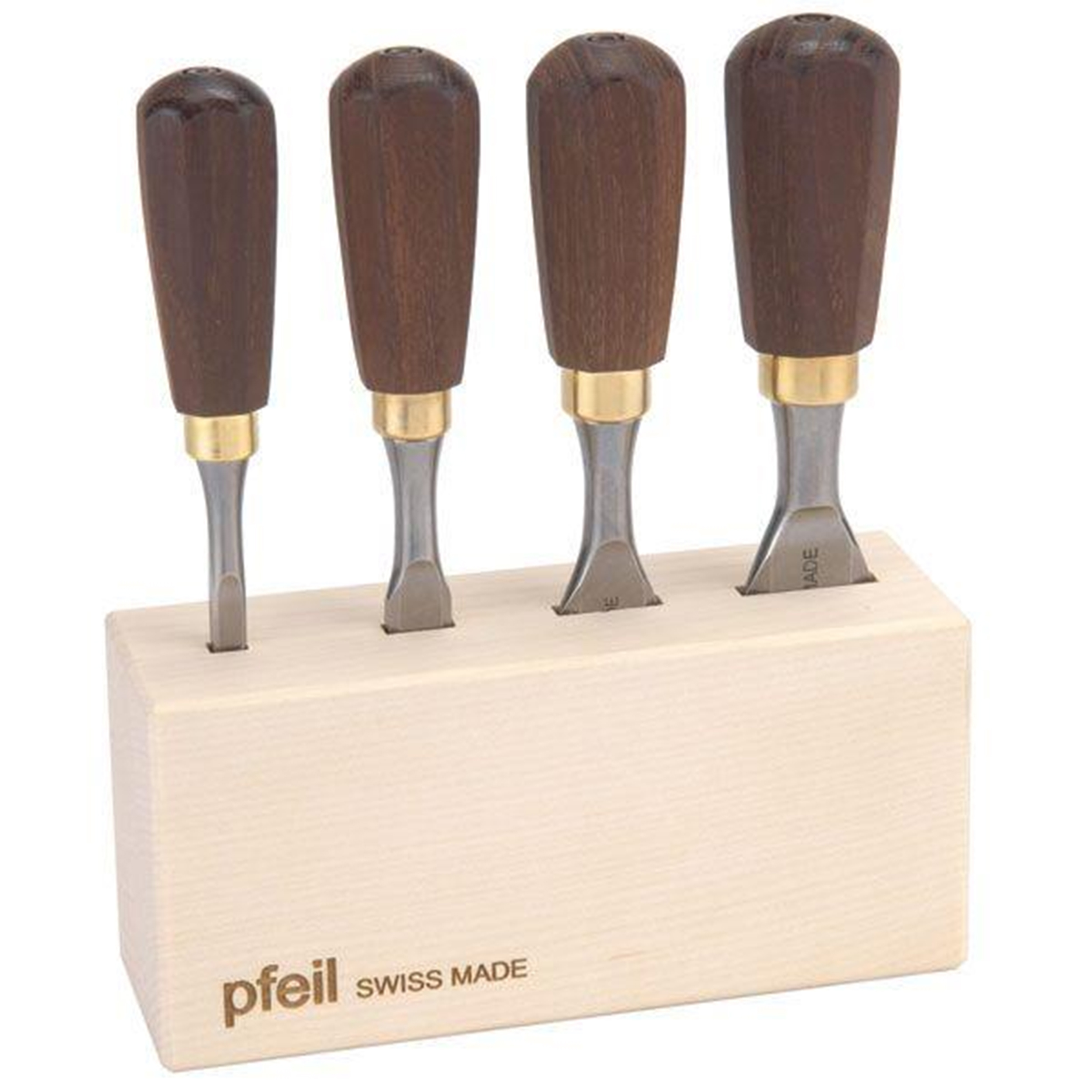 "PFEIL ""Swiss Made"" Butt Chisel Set of Four"