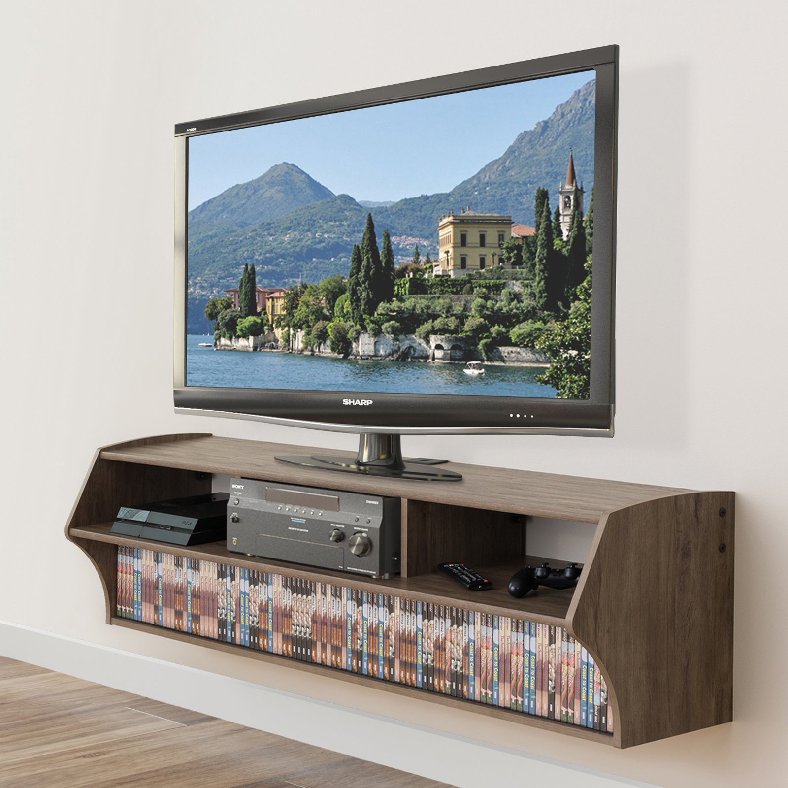 Prepac Altus Plus Wall Mounted TV Stand Drifted Gray by Prepac Furniture