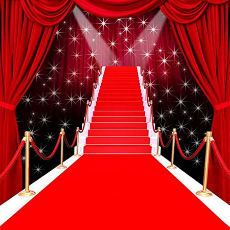 HelloDecor Polyster 5x7ft Red carpet curtain Hollywood celebrity backdrop wedding photography studio background