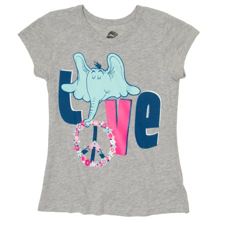 Dr Seuss Girls' Horton Love Short Sleeve Graphic T-Shirt - Seuss Characters