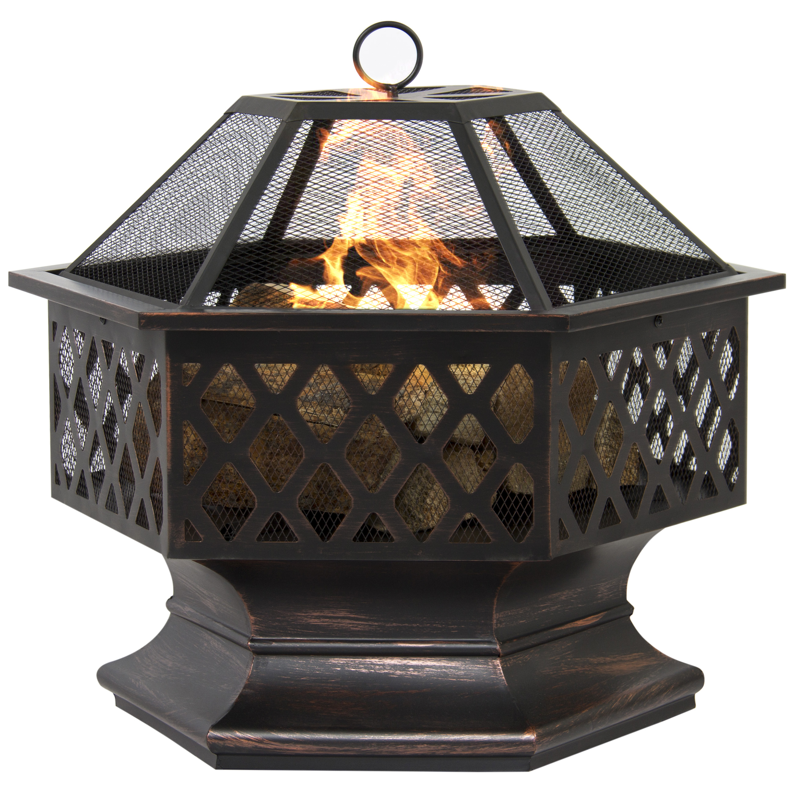 Zeny Outdoor Hex Shaped Patio Firepit Home Garden Backyard Firepit Bowl Fireplace by